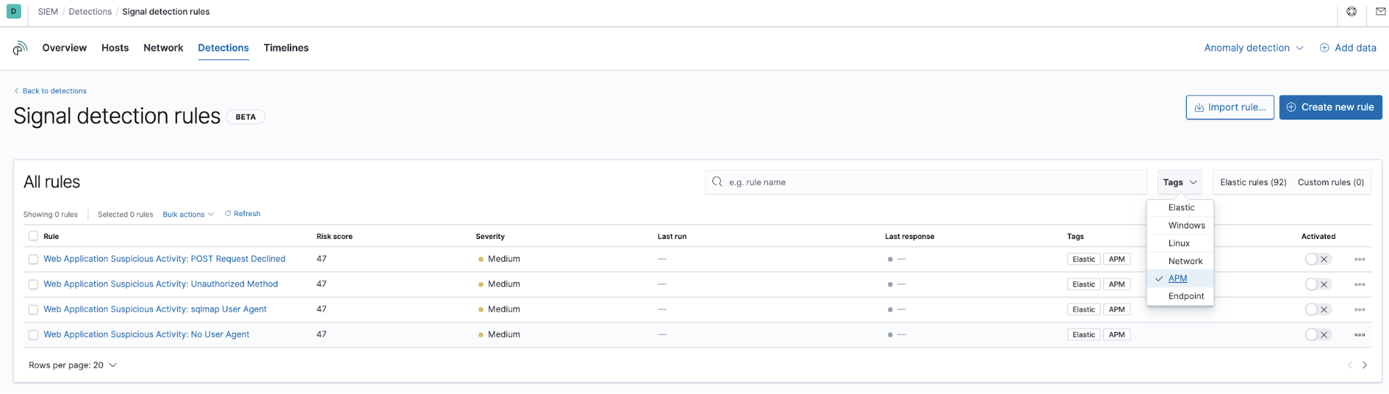 APM data in SIEM app