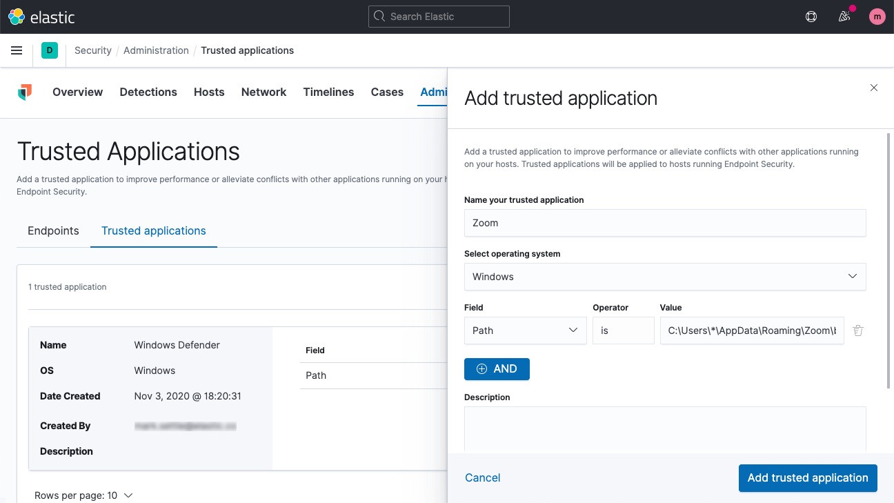 Trusted applications in Elastic malware prevention