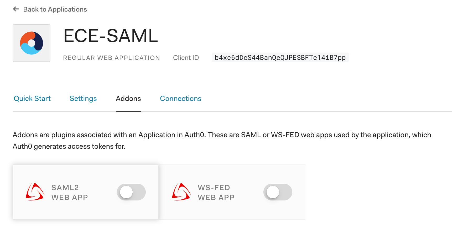 Enable the SAML 2 Web App