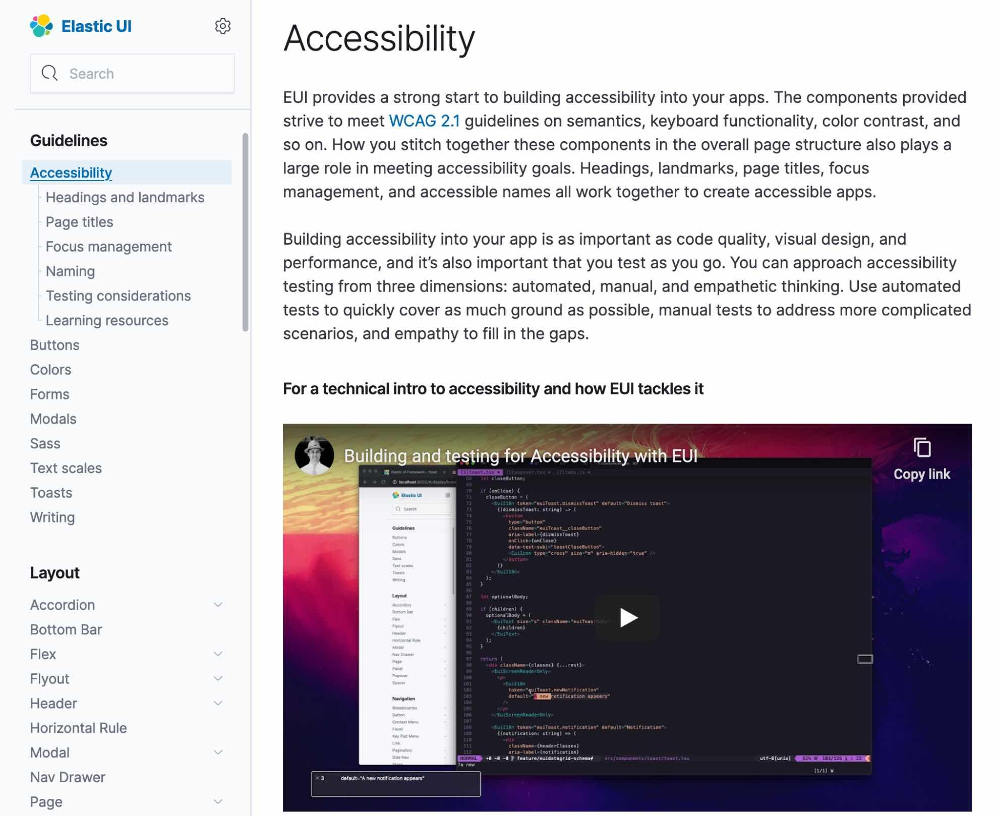 Elastic EUI Accessibility Guidelines