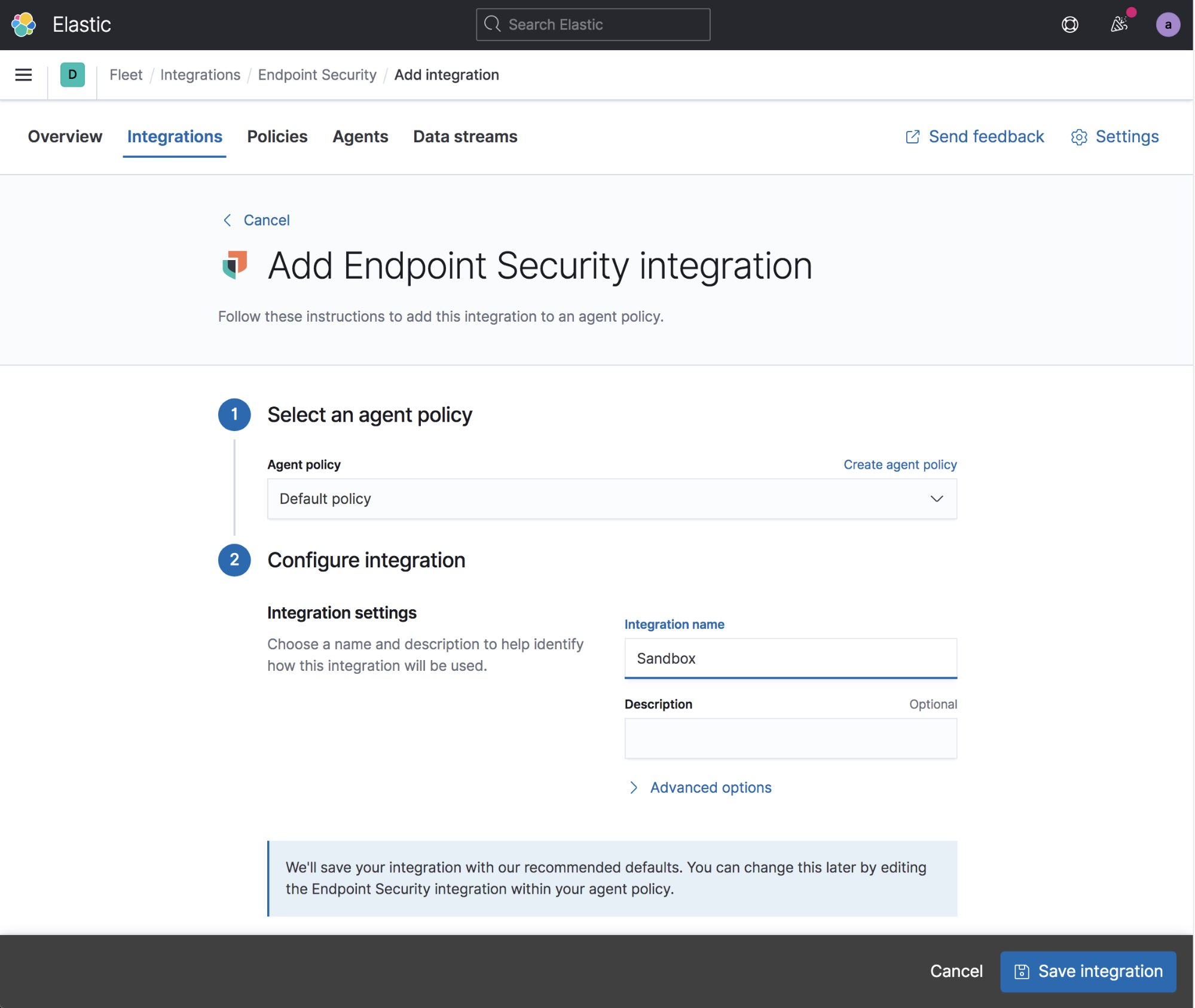 Elastic Agent page to add an integration