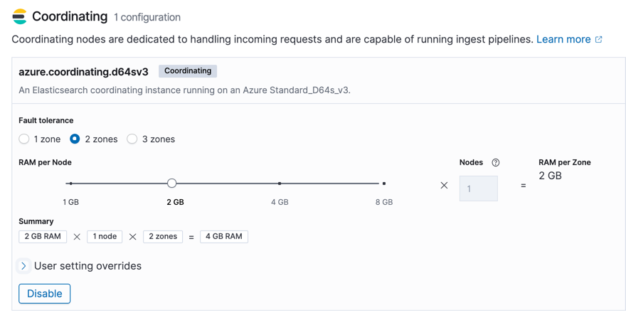 Dedicated Coordination Layer configuration screen in the Elastic Cloud user console