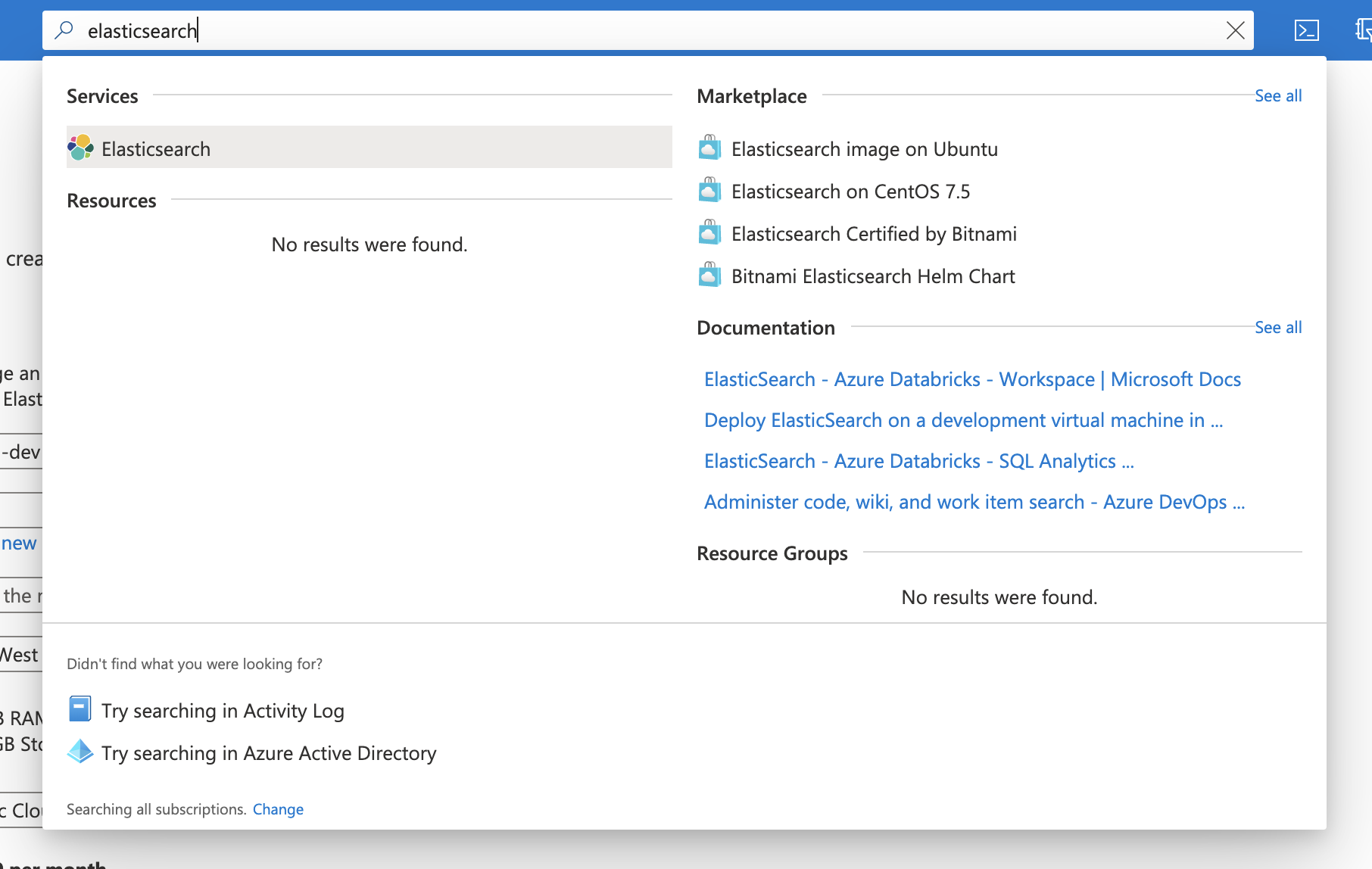 Screenshot of Azure portal search bar