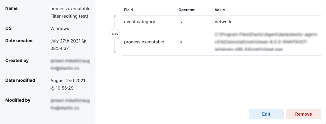 Endpoint event filtering