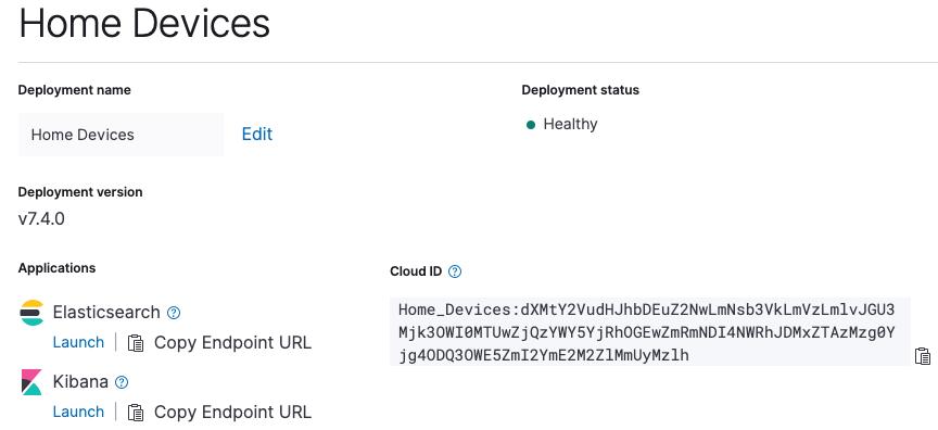My Elasticsearch Service deployment details