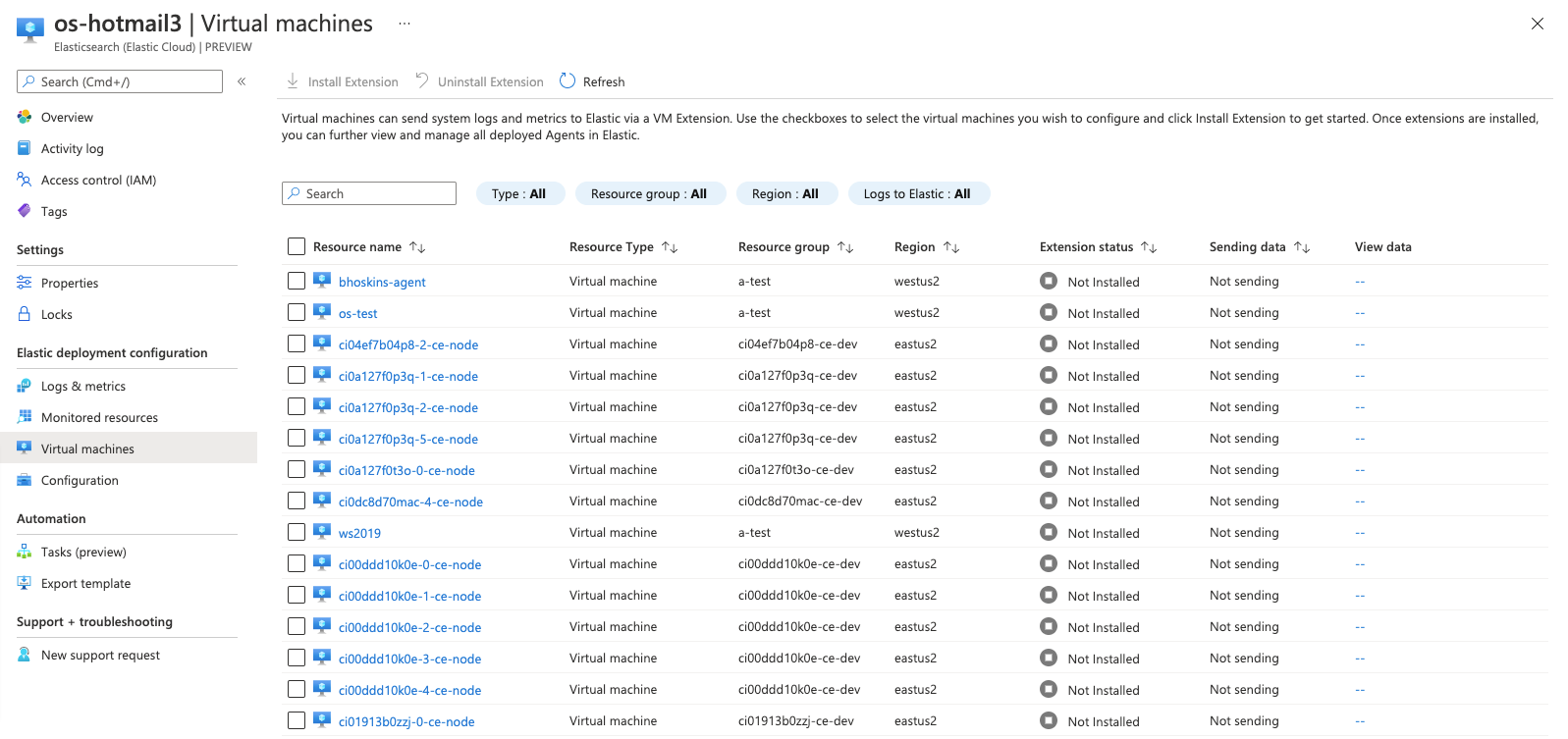 Screenshot of virtual machines overview
