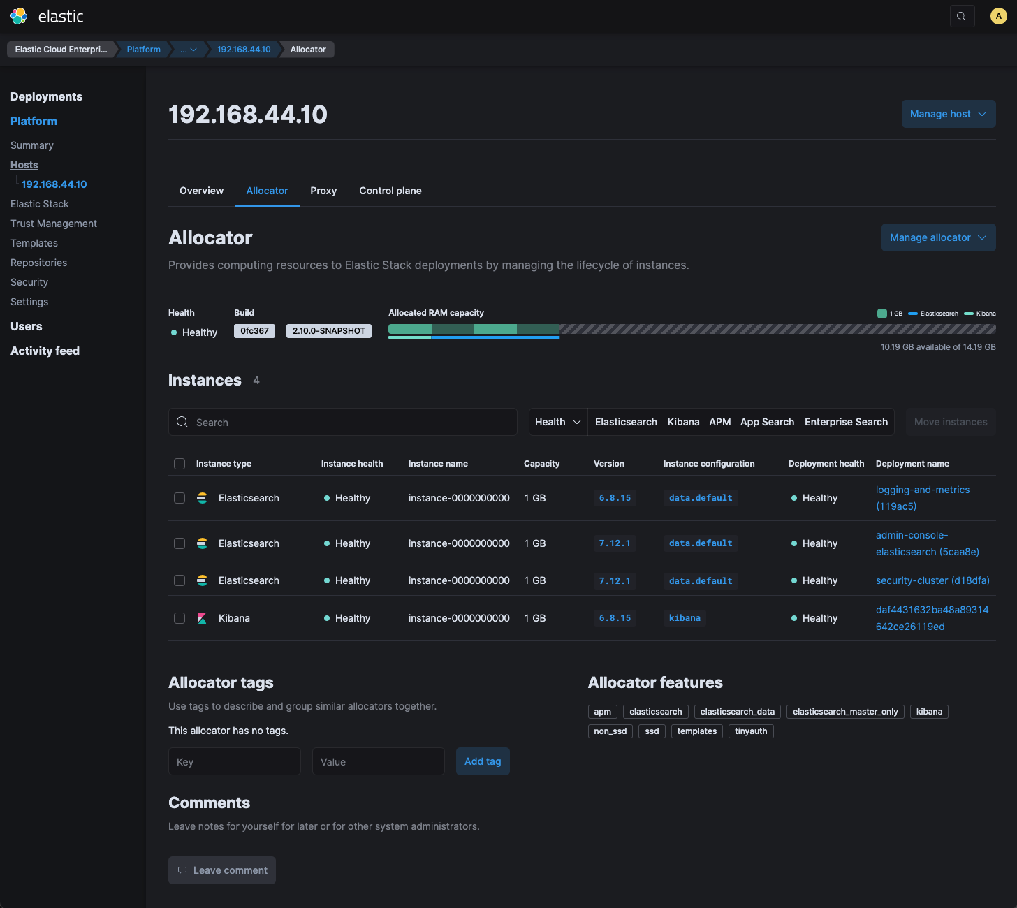 Screenshot of allocator page