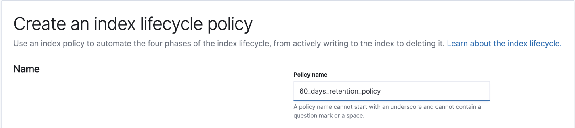 Configure your ILM policy name