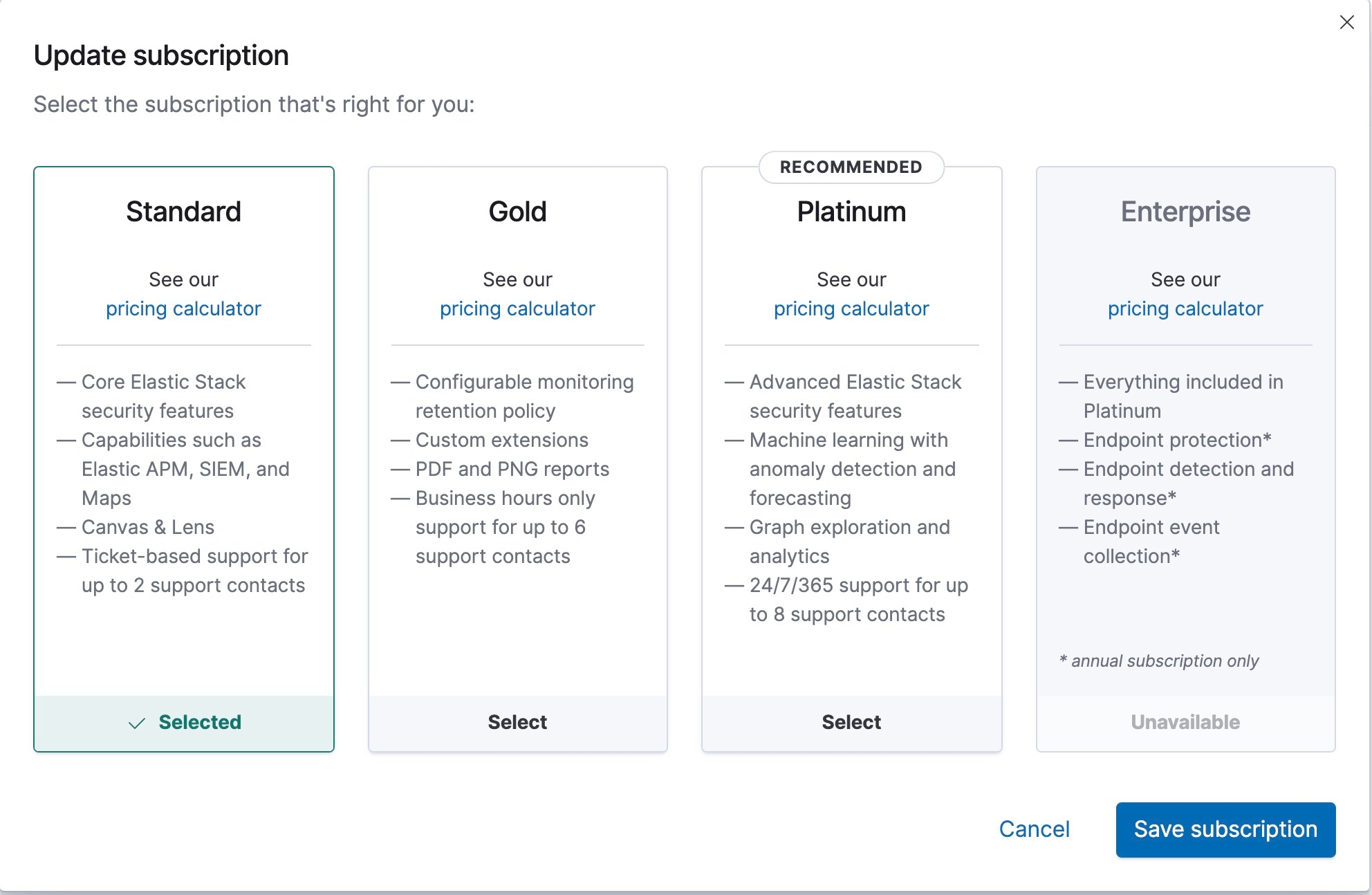 Shows interface for managing your Elastic Cloud subscription