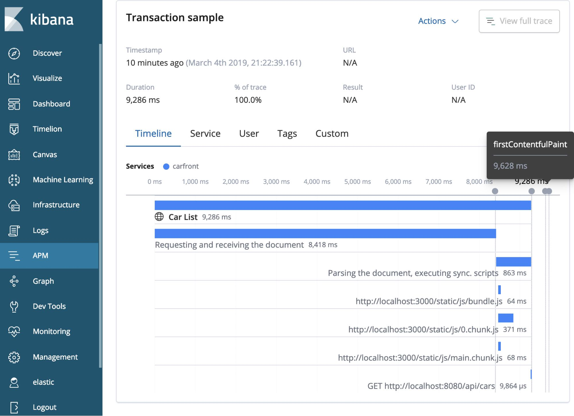 Exemple de transaction dans Elastic APM