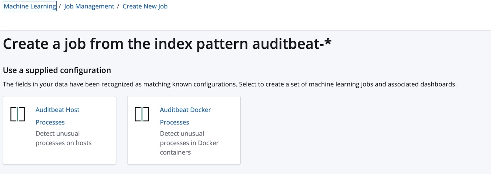 Create a new machine learning job for Auditbeat data