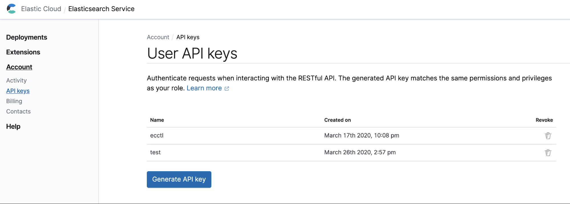 Create a API key from the Elastic Cloud console