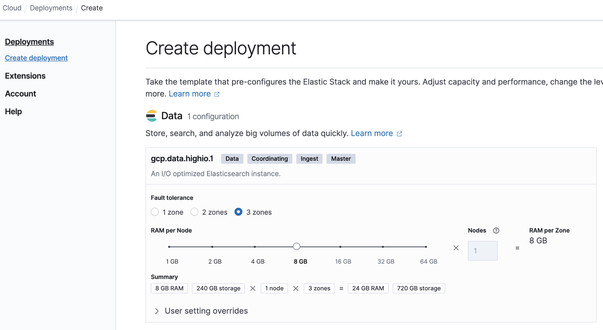 Sizing your small cluster in Elastic Cloud