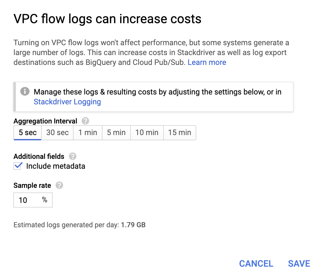 VPC flow logs can increase costs