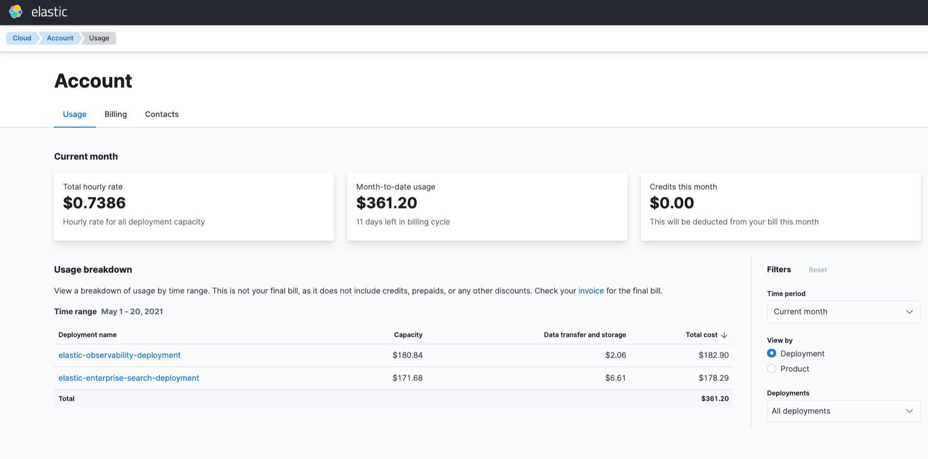 Screenshot of billing and usage overview