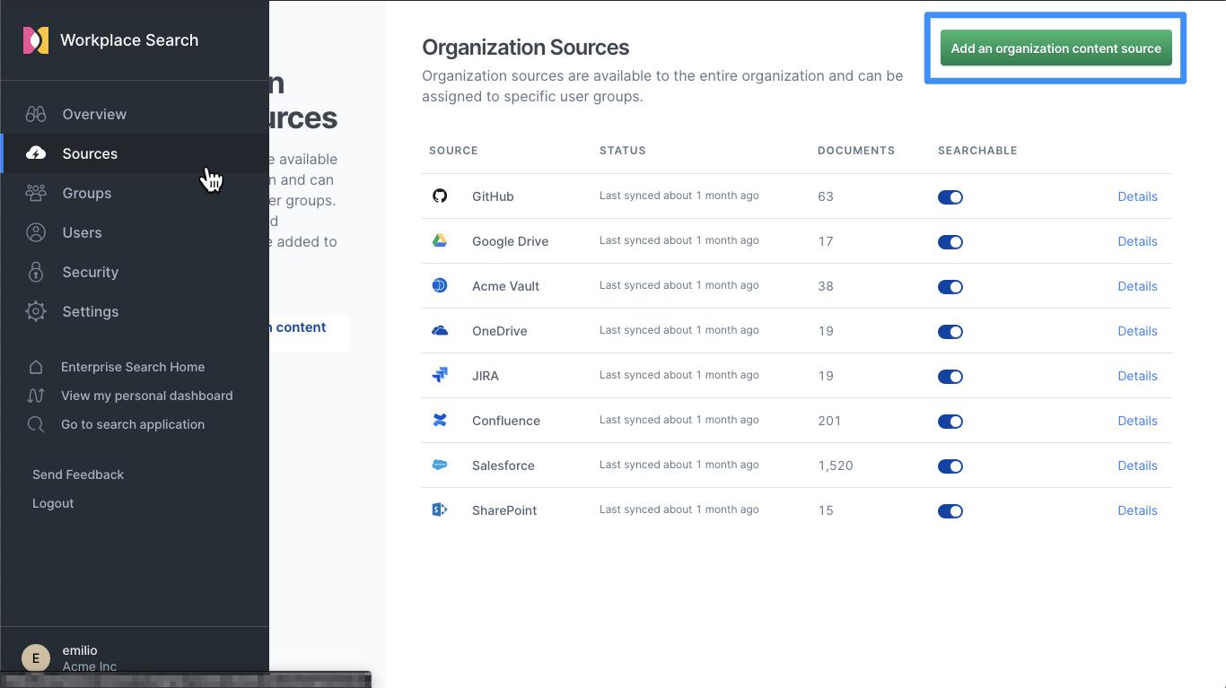 Add an organization content source