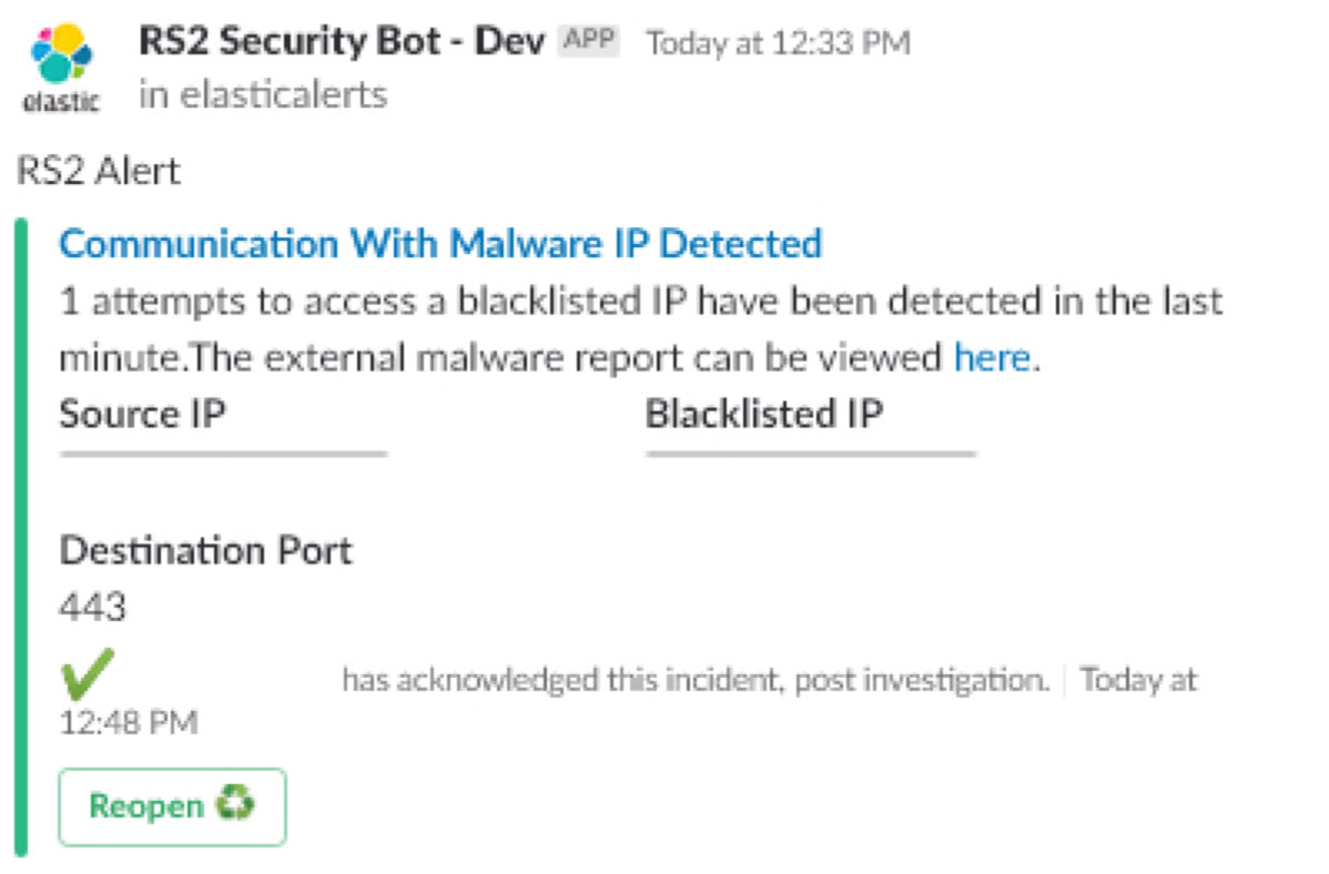 RS2 - Security Bot - Communication with Malware IP Detected