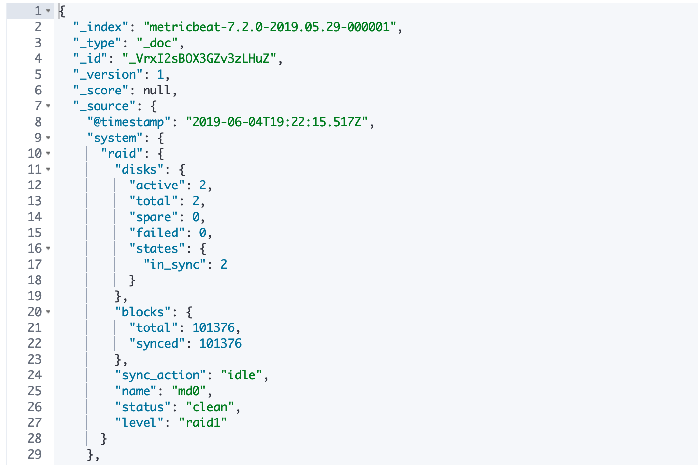 JSON result of looking for events from the RAID metricset