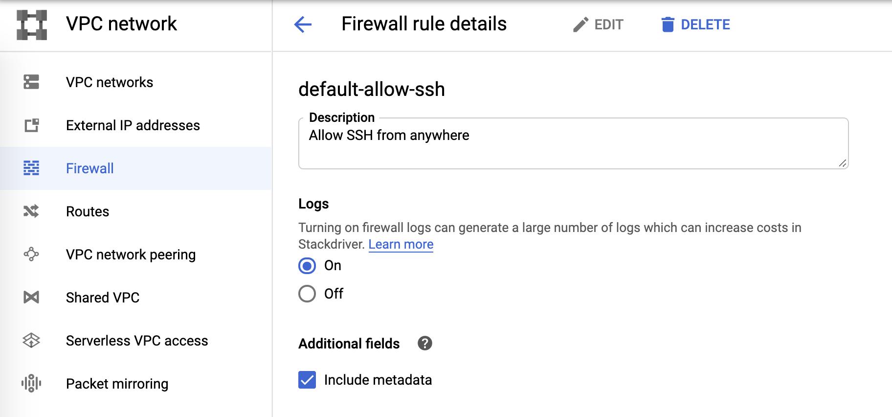 Firewall log configuration