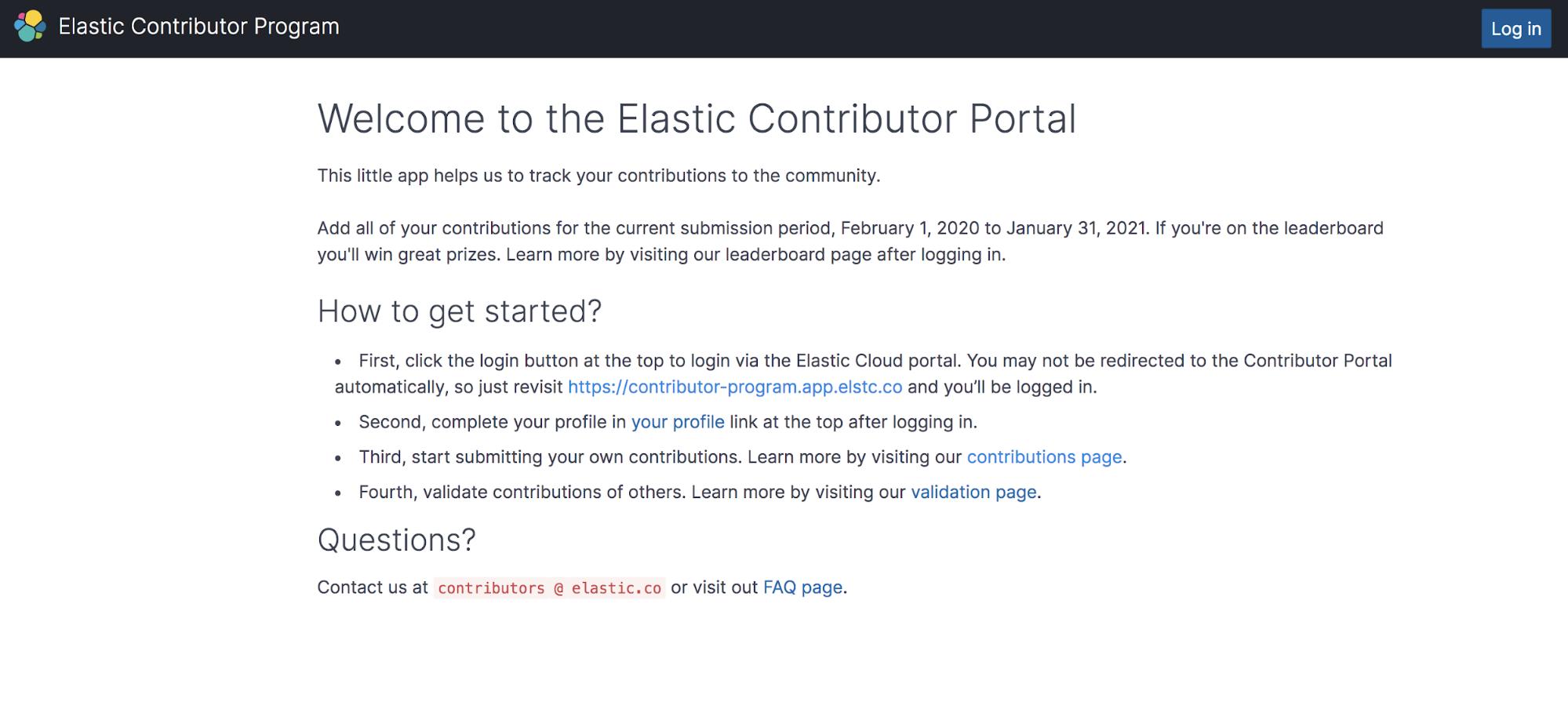 Elastic Contributor Program welcome screen
