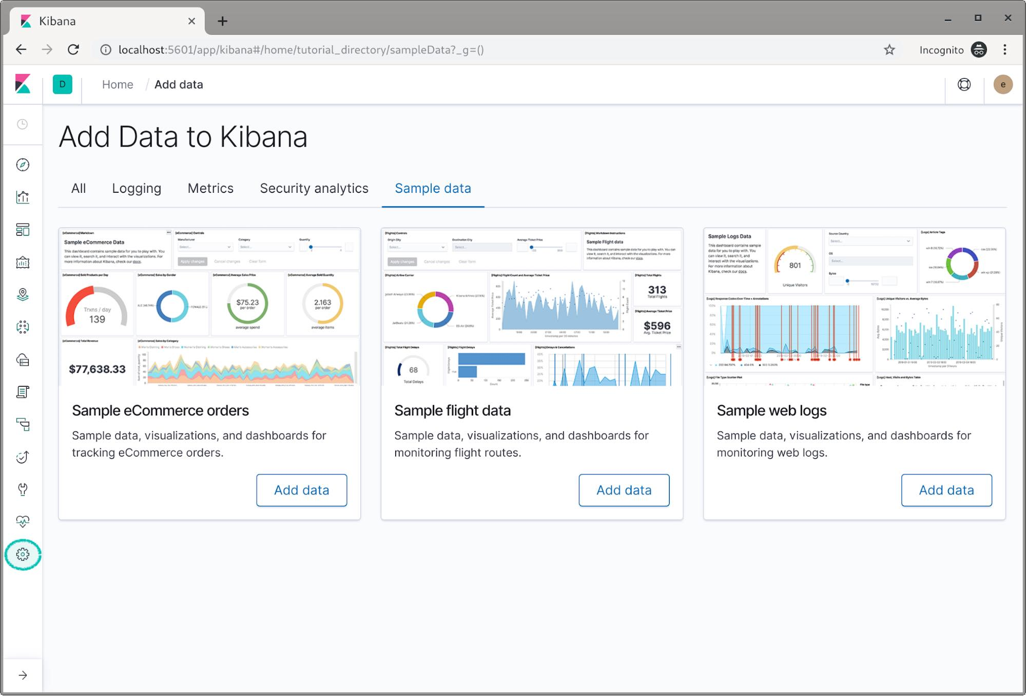Navigate to management within Kibana
