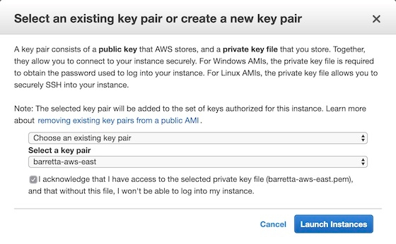 Select an existing key pair