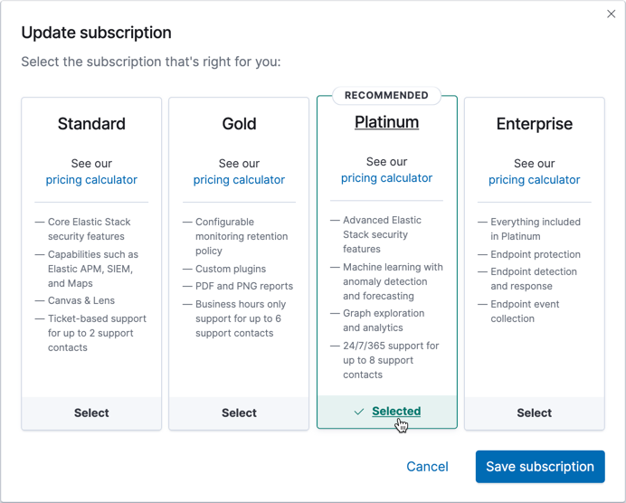 Choosing an Elastic Cloud subscription