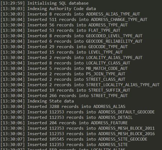 GNAF SQL Initialise