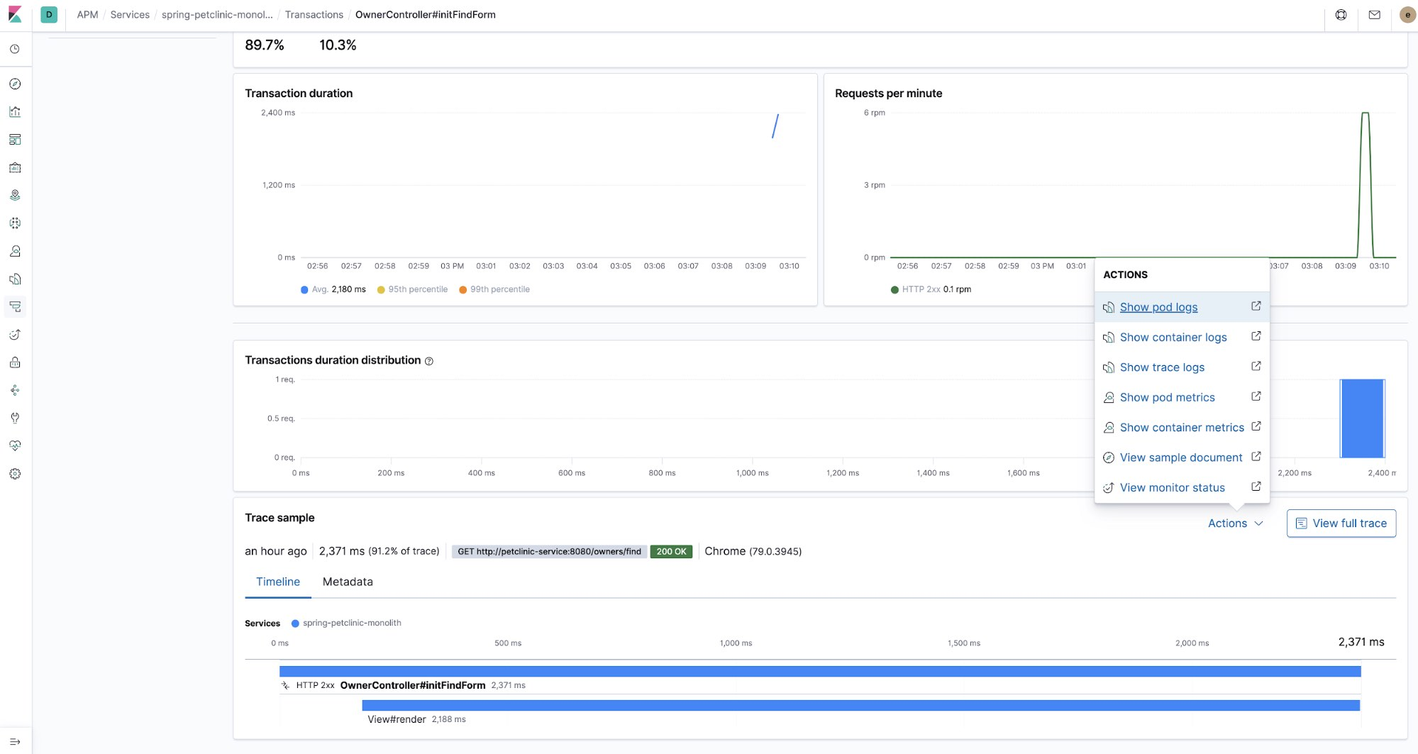 With Elastic APM, it's easy to correlate traces and log data.