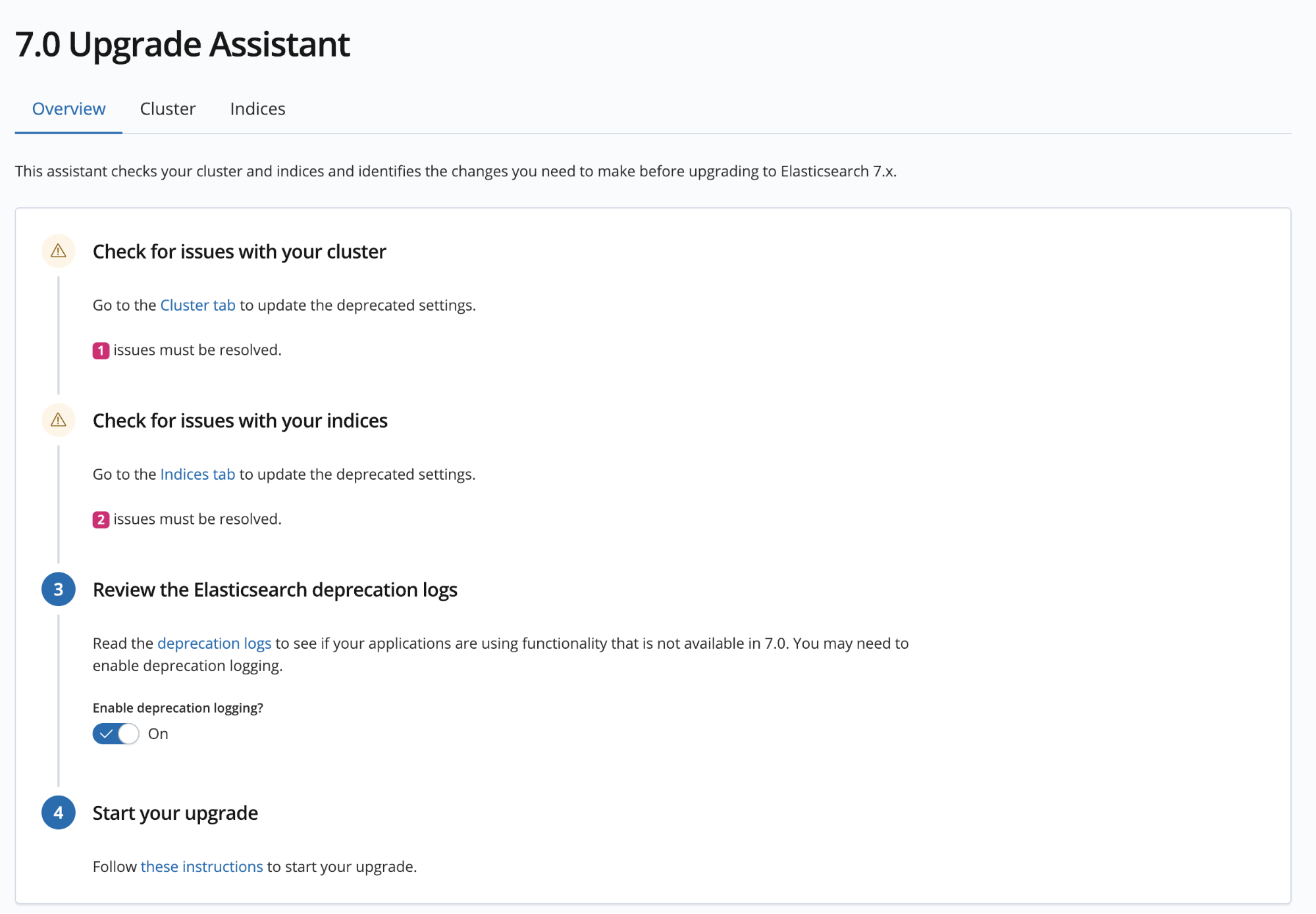 Upgrade Assistant overview screen