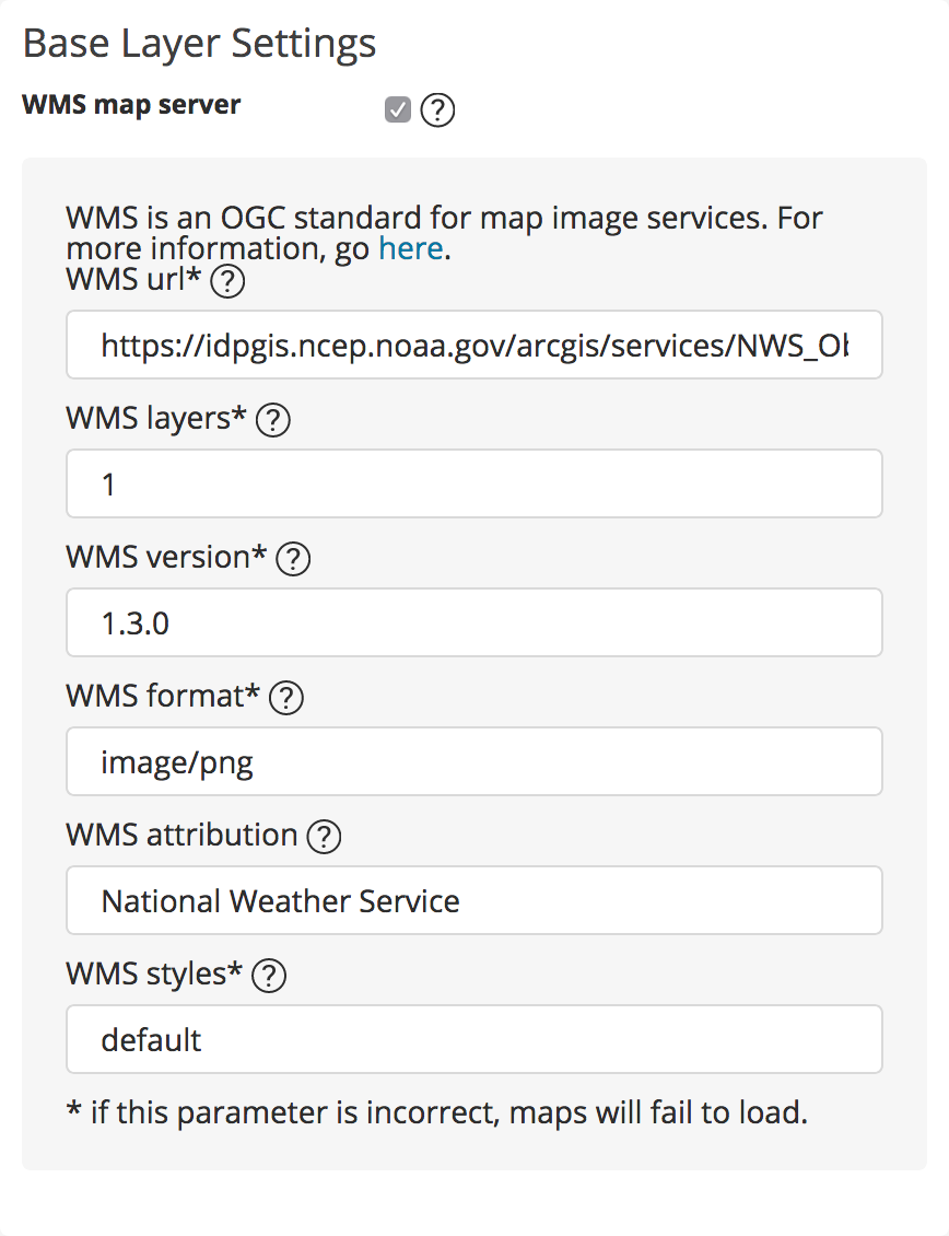 WMS server settings for Base Reflectivity Radar service: WMS Layers=1, WMS version=1.3.0, WMS format=image/png, WMS attribution=National Weather Service, WMS styles=default