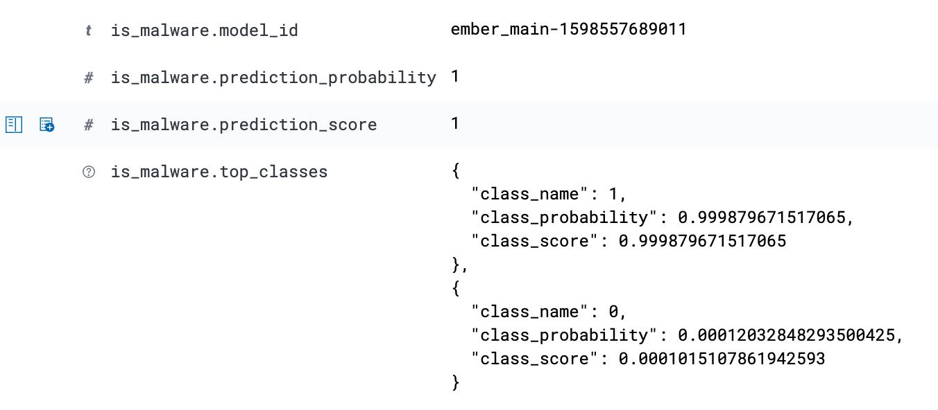 Um snippet do documento ingerido mostra o enriquecimento do nosso modelo de machine learning treinado