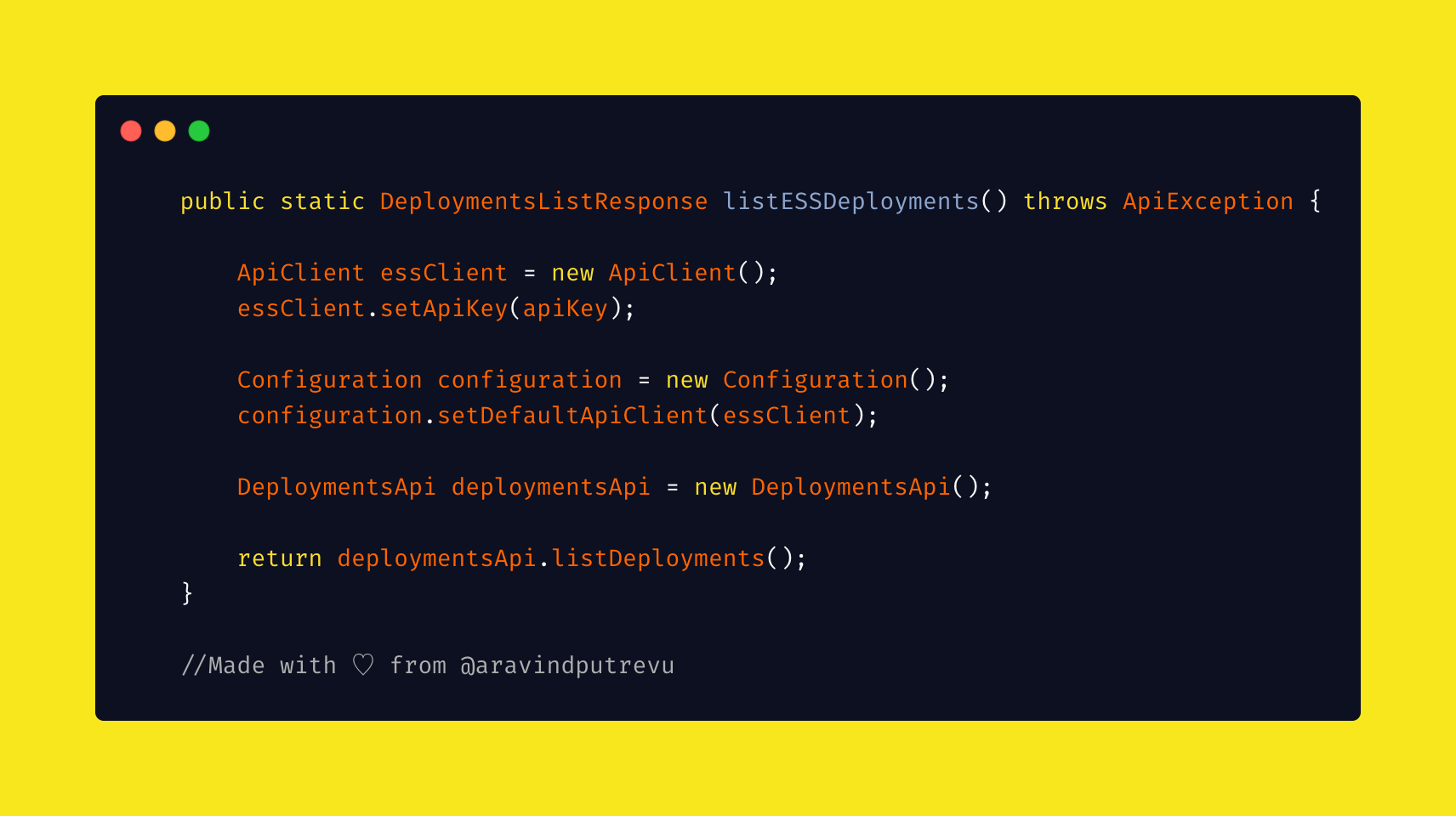Code snippet to list Elastic Cloud deployments
