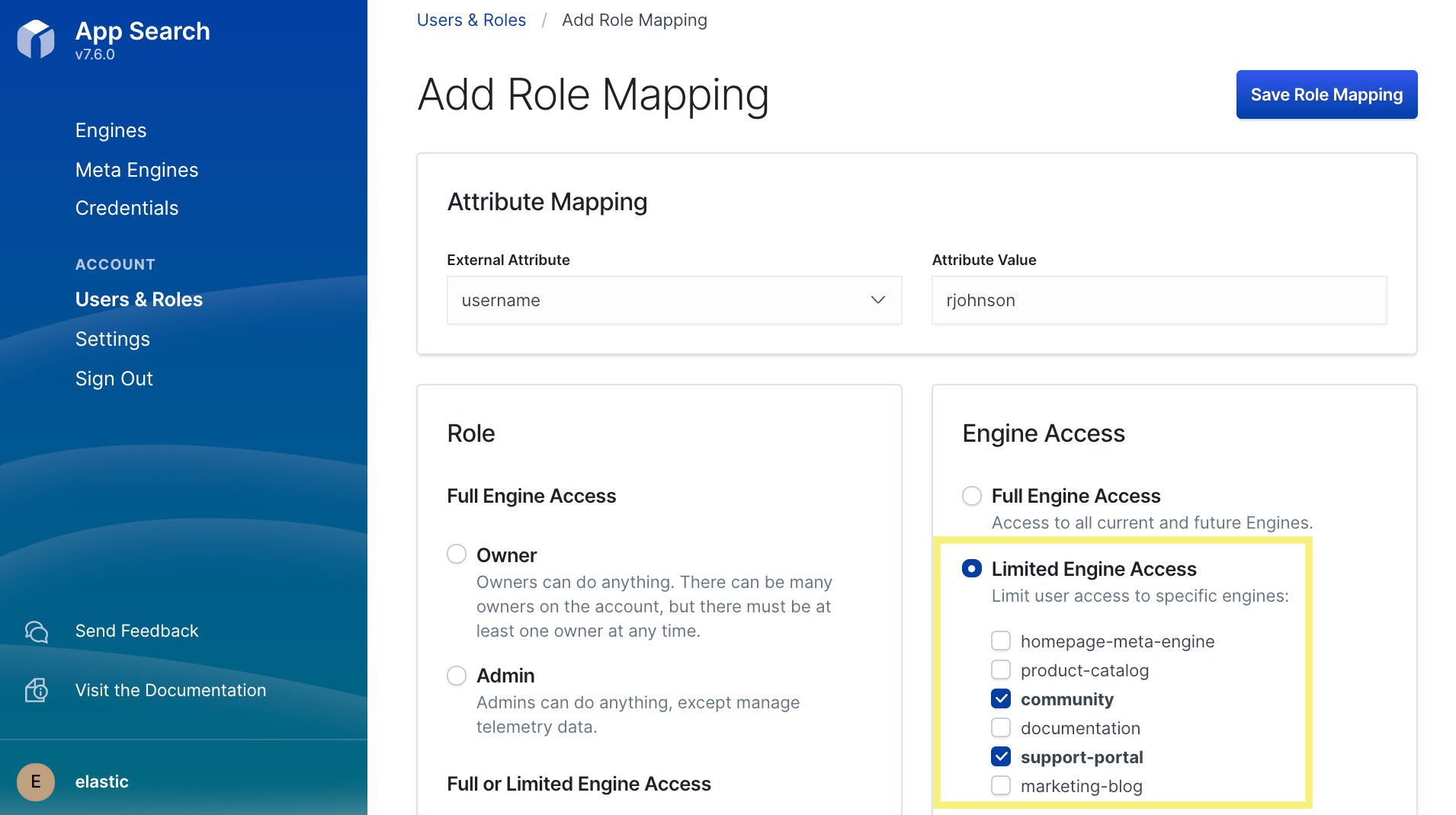 Specifying role mapping for engines