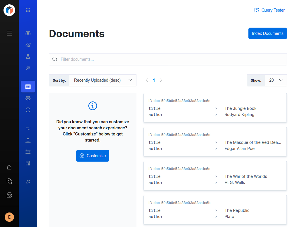 Elastic App Search showing the indexed documents in the engine
