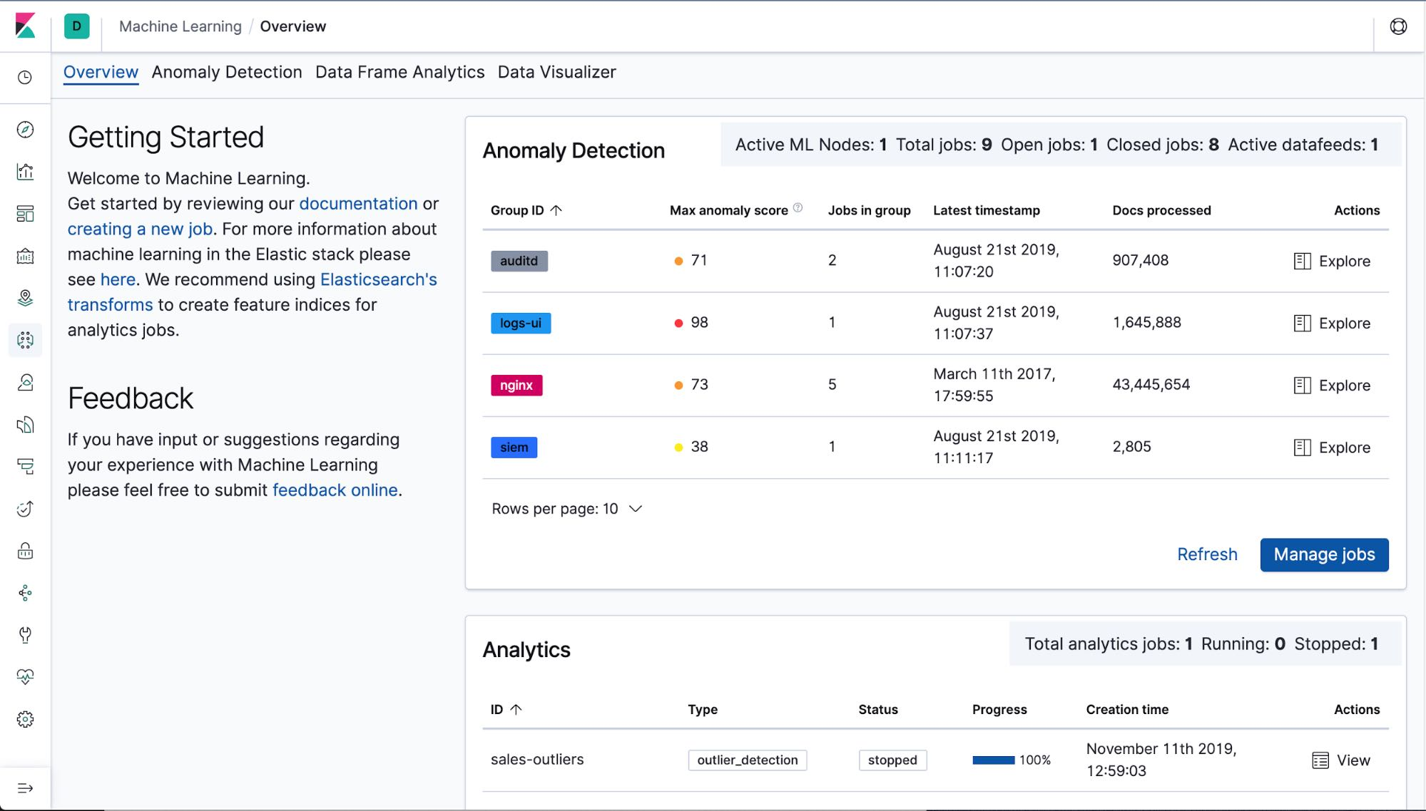 In Kibana 7-5 the new new Machine Learning Overview page helps you get familiar with all the Elastic machine learning capabilities in one place