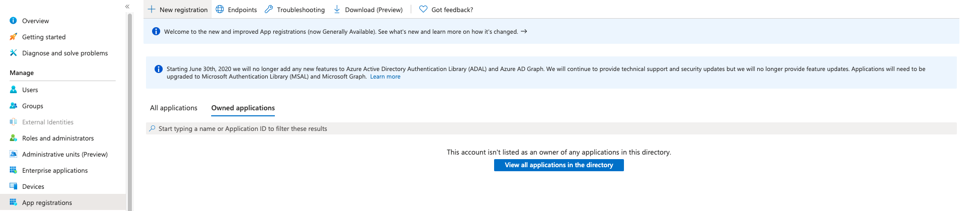Create a new application in Azure Portal