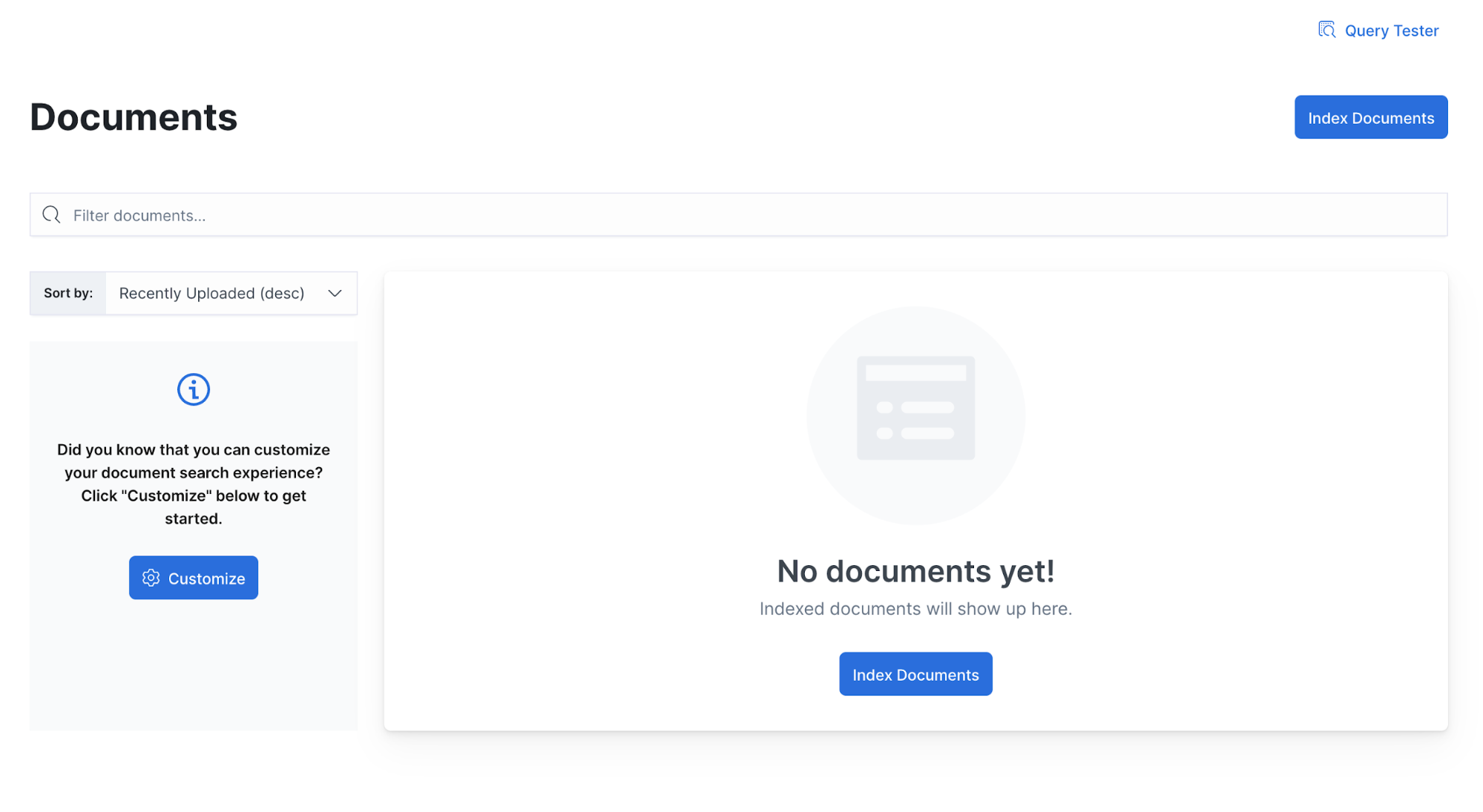 No documents appear in Documents view