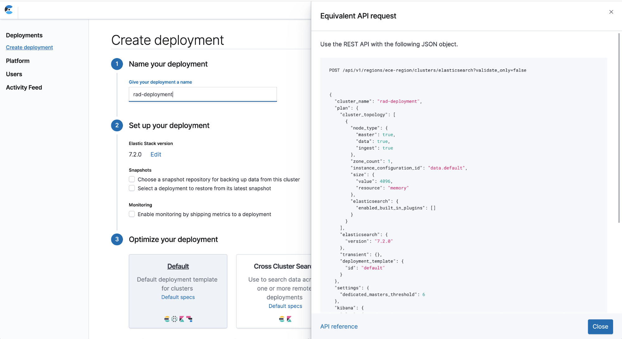 create deployment elastic cloud enterprise