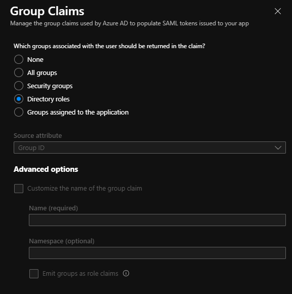 AAD group claim directory roles
