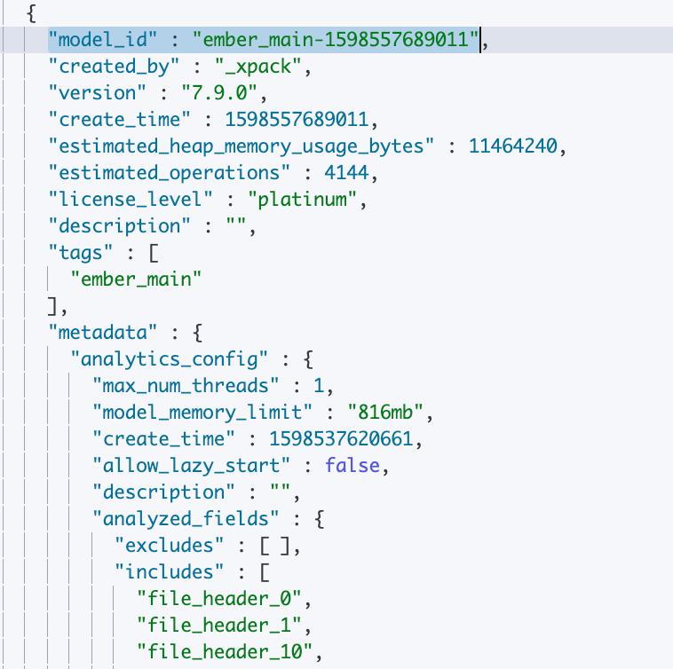학습된 모델에 대한 정보를 검색하기 위한 호출의 샘플 출력에 추론 프로세서를 구성하는 데 필요한 model_id가 표시됨