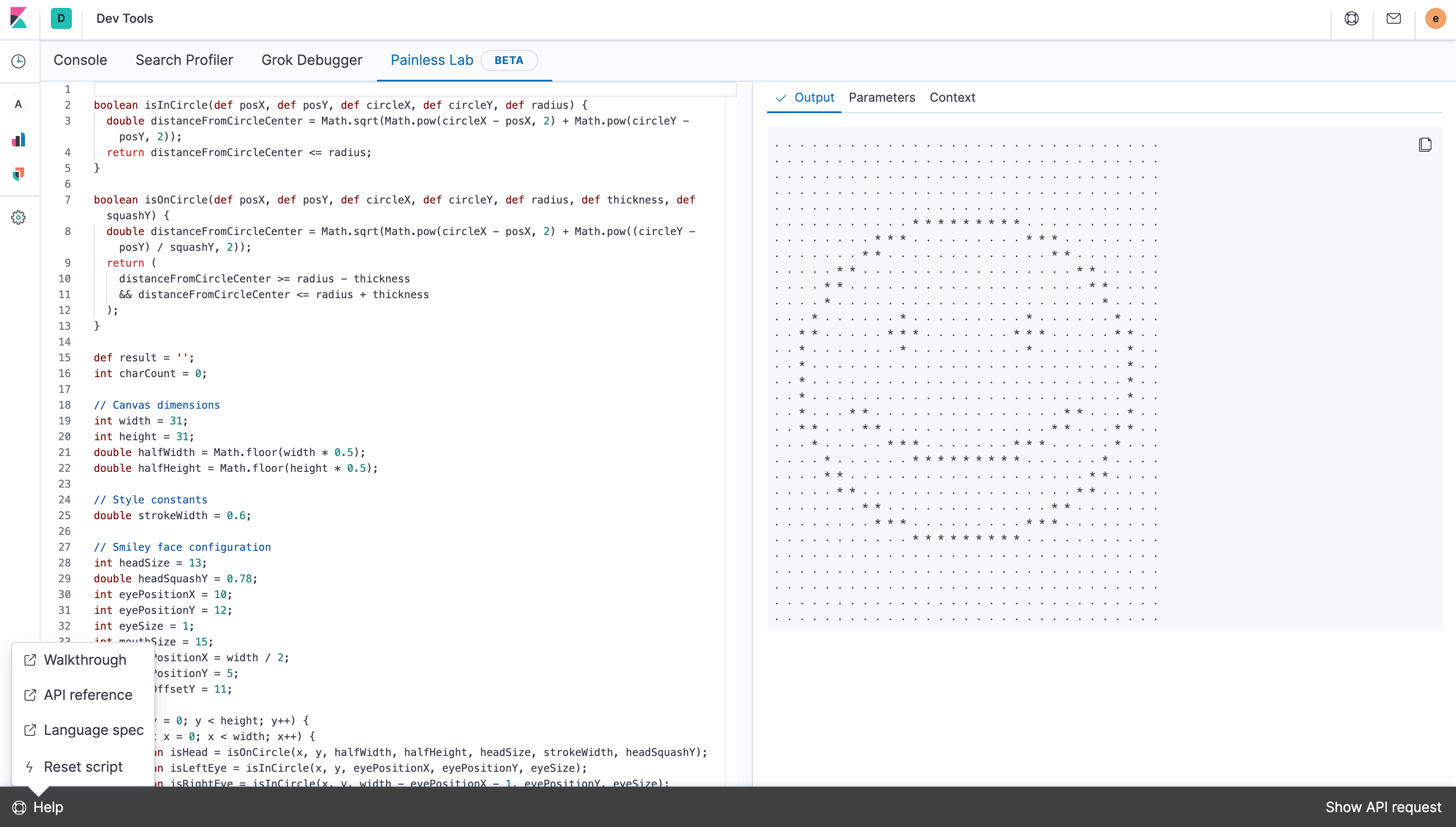 Painless Lab rendering smiley face