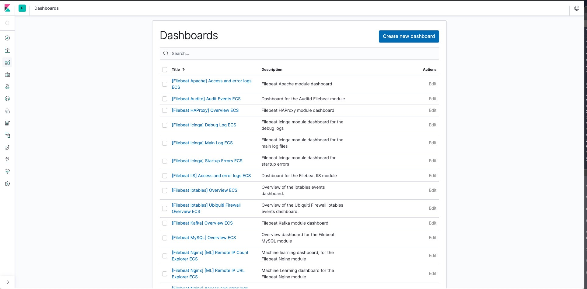 Página de Kibana con los dashboards disponibles