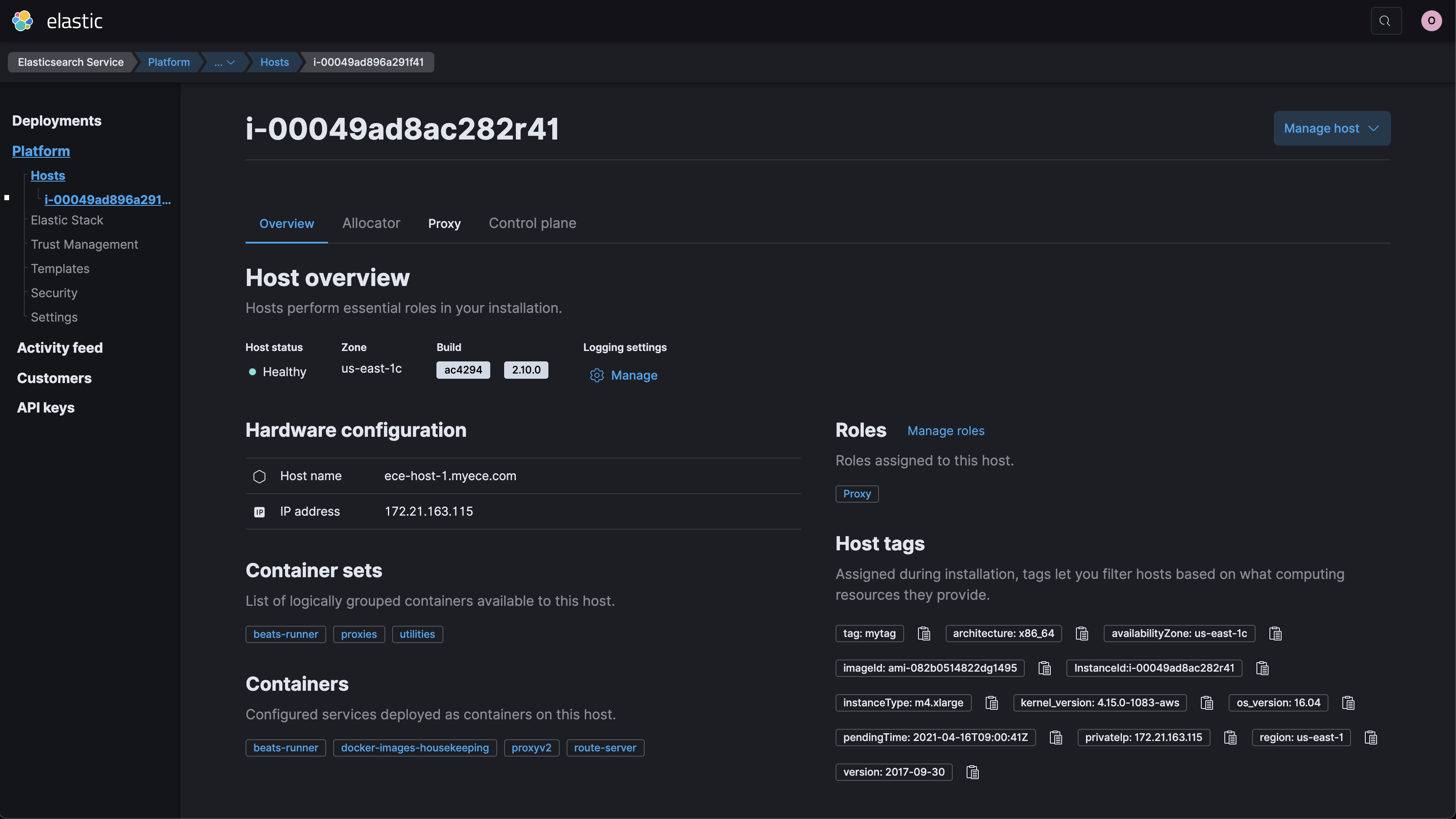 Screenshot of host overview page