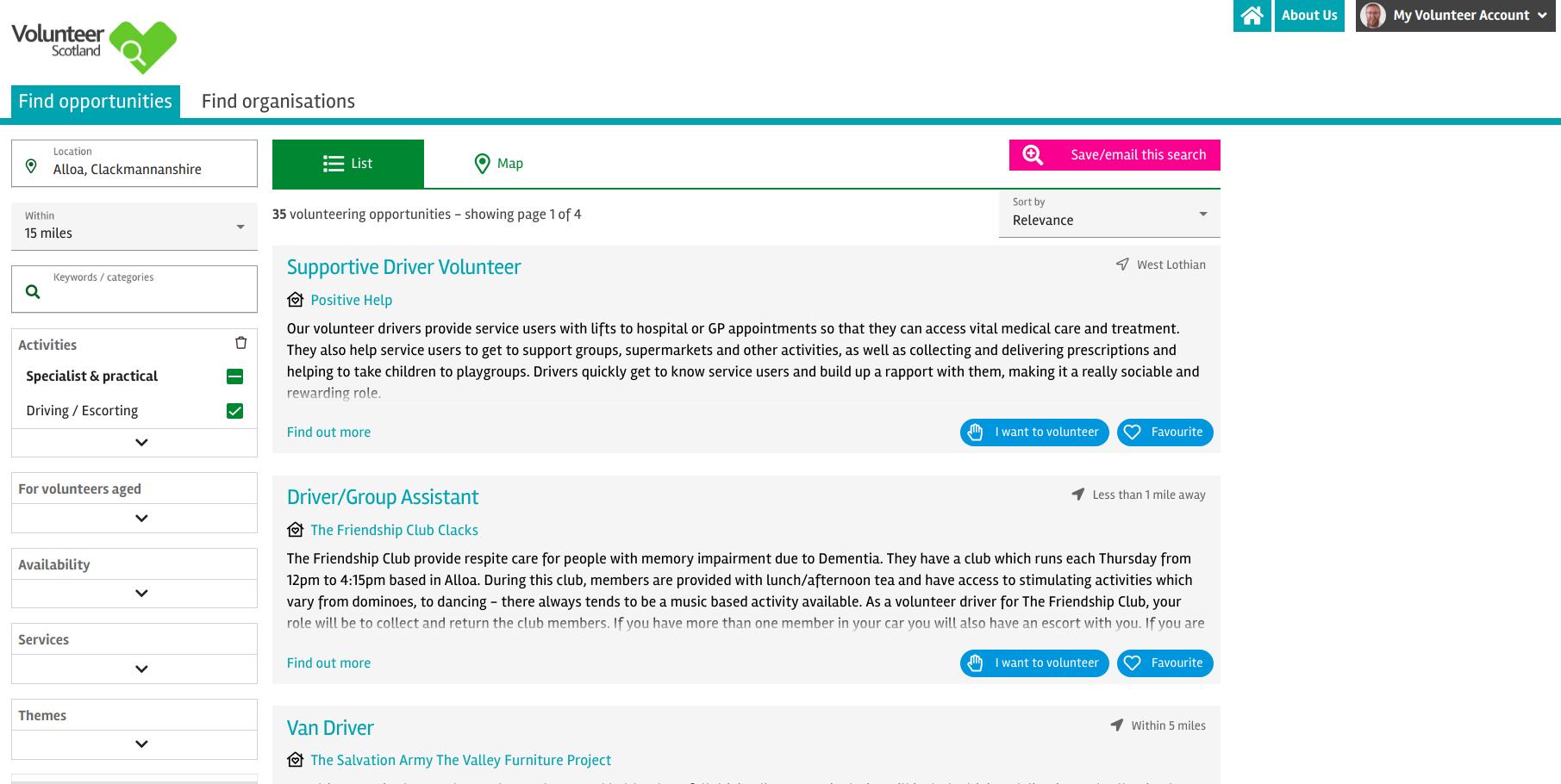 Screenshot of the Volunteer Scotland Search website