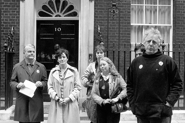 Representatives of the Campaign for Nuclear Disarmament stand outside Downing Street to hand a letter to the Prime Minister calling for the withdrawal of the British naval task force heading for the Falklands because the government refused to deny the presence of nuclear weapons in the task force. (Picture: Press Association)