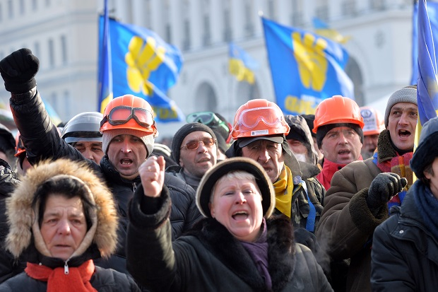 Excitable media reports give the impression that there is only type of protestor in Ukraine. (SERGEI SUPINSKY/AFP/Getty Images)