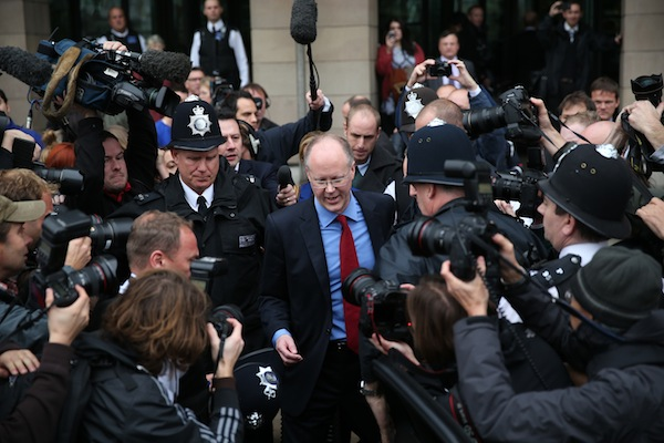 George Entwistle was mobbed as he left Westminster after questioning from the Culture, Media and Sport select committee. Photo: Getty Images.