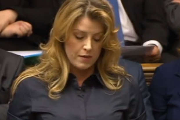 Penny Mordaunt in the House of Commons today. Photo: BBC.
