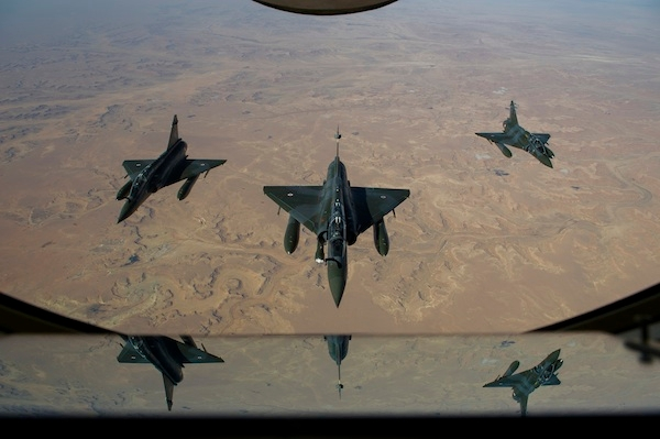 French Mirage 2000 D aircrafts flying over Mali. Photo: ABACA/PA Images